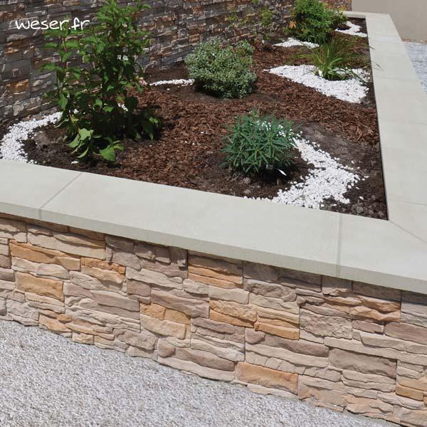 Chaperon OPTIPOSE® Plat 1 mètre WESER - largeur 30cm - Coloris Blanc cassé avec joints traditionnels