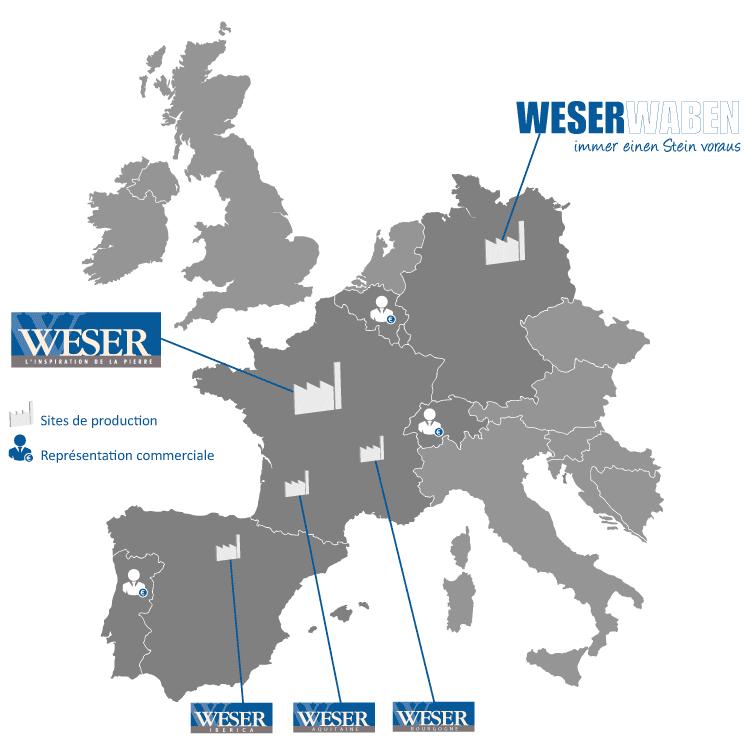 Représentation des Sites de production et de la Représentation commerciale du Groupe Weser en Europe.