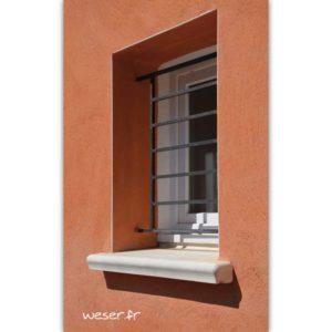 Appui de fenêtre préfabriqué Accordance largeur 34 cm Weser - en pierre reconstituée coulée - Coloris Blanc Tradition