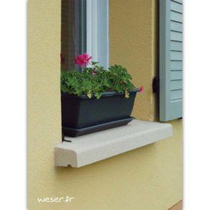 Appui de fenêtre préfabriqué nez arrondi largeur 35 cm Weser - en pierre reconstituée compactée - coloris Blanc Cassé