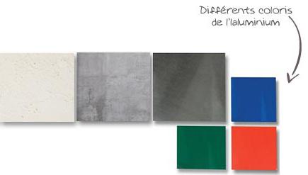 Différentes matières des piliers de portail ou de clôture. Pierre, béton et l'aluminium qui existe sous différentes couleurs.