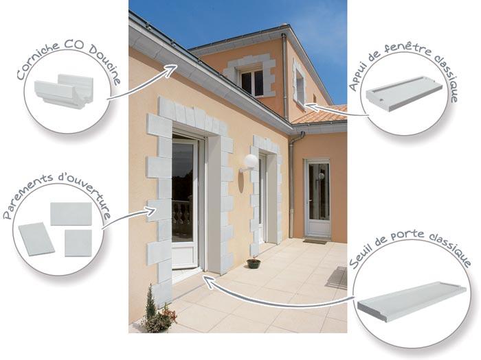 Éléments de décoration de façade maison classique Corniche CO doucine, Parement d'ouverture et Chaine d'angle, Appui de fenetre classique, seuil de porte classique WESER