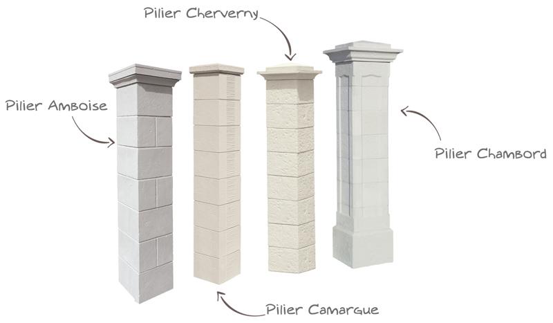 Différents piliers vieille pierre, Pilier Amboise, Pilier Camargue, Pilier Cheverny, Pilier Chambord WESER