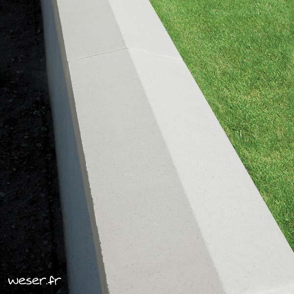 Couvre-mur OPTIPOSE® 2 pentes - largeur 30, longueur 1 mètre - Blanc cassé - Weser
